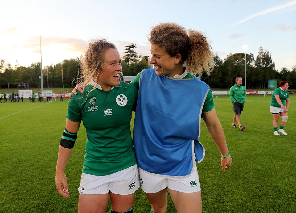 Ashleigh Baxter and Jenny Murphy, who have played together for Ireland in both Sevens and 15s, celebrate together after the 19-17 victory