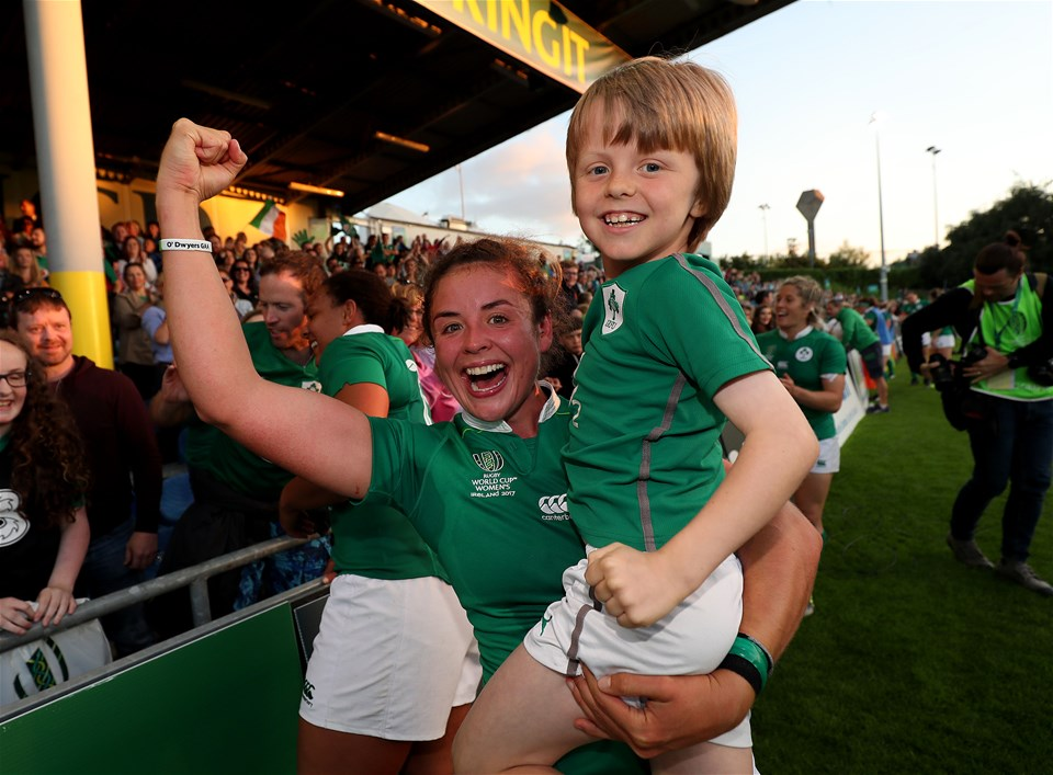 Try-scoring scrum half Larissa Muldoon celebrates the win over Australia with her young cousin Bobby