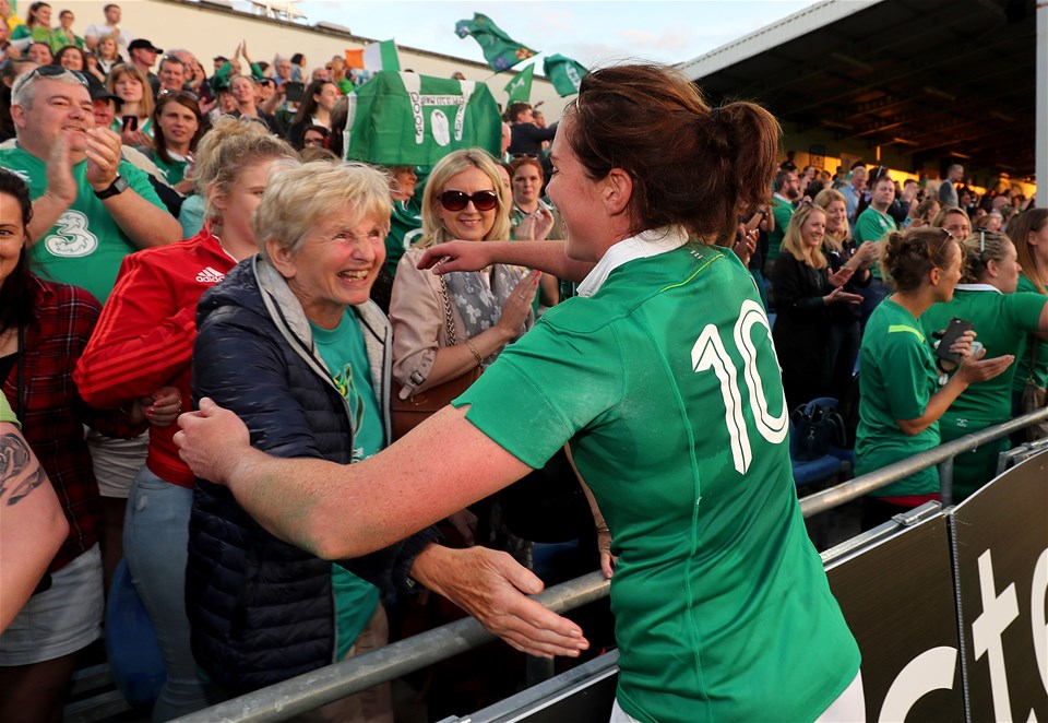 Nora Stapleton had a hug with her granny Iris as the post-match celebrations continued at the UCD Bowl