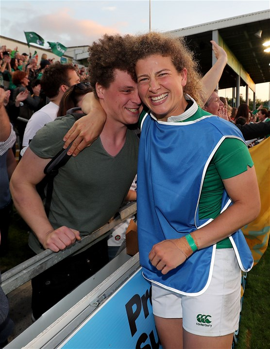 Jenny Murphy, who came off with a slight knock in the second half, celebrates Ireland's 19-17 success with her brother