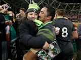 Guinness Series, Aviva Stadium, Dublin 11/11/2017 Ireland vs South AfricaIrelands Bundee Aki celebrates after the game with his daughter AdriannaMandatory Credit ©INPHO/Dan Sheridan