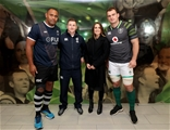 Guinness Series, Aviva Stadium, Dublin 18/11/2017 Ireland vs FijiFiji's Akapusi Qera and Rhys Ruddock of Ireland with Referee Paul Williams and Jennifer Gleeson of Guinness for the coin tossMandatory Credit ©INPHO/Dan Sheridan