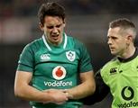 Guinness Series, Aviva Stadium, Dublin 18/11/2017 Ireland vs FijiIrelands Joey Carbery leaves the field with an injury with Dr. Ciaran CosgroveMandatory Credit ©INPHO/Dan Sheridan