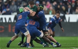 NatWest 6 Nations Championship Round 1, Stade de France, Paris, France 3/2/2018France vs IrelandIrelands Iain Henderson is tackled by Frances Kevin Gourdon Cedate Gomes Sa and Sébastien VahaamahinaMandatory Credit ©INPHO/Billy Stickland