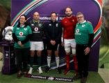 NatWest 6 Nations Championship Round 3, Aviva Stadium, Dublin 24/2/2018Ireland vs WalesReferee Glen Jackson with Ireland captain Rory Best and Wales captain Alun Wyn Jones at the coin toss with RBS coin toss experience winners Mark and Sorcha O'DonoghueMandatory Credit ©INPHO/Dan Sheridan