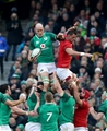 NatWest 6 Nations Championship Round 3, Aviva Stadium, Dublin 24/2/2018 Ireland vs WalesIreland's Devin Toner claims a line outMandatory Credit ©INPHO/Billy Stickland