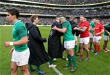 NatWest 6 Nations Championship Round 3, Aviva Stadium, Dublin 24/2/2018 Ireland vs WalesIreland's CJ Stander celebrates with Andrew Porter and Kieran Marmion after the gameMandatory Credit ©INPHO/Billy Stickland