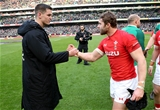 NatWest 6 Nations Championship Round 3, Aviva Stadium, Dublin 24/2/2018 Ireland vs WalesIreland's Johnny Sexton shakes hands with Leigh Halfpenny after the gameMandatory Credit ©INPHO/Billy Stickland