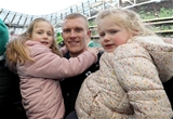NatWest 6 Nations Championship Round 3, Aviva Stadium, Dublin 24/2/2018 Ireland vs WalesIreland's Keith Earls celebrates with his daughters Ella May and Laurie Mandatory Credit ©INPHO/Dan Sheridan