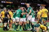 Mitsubishi Estate Series 2nd Test, AAMI Park, Melbourne, Australia 16/6/2018Australia vs IrelandIreland's Tadhg Furlong celebrates scoring his sides second try with Devin Toner and Robbie HenshawMandatory Credit ©INPHO/Dan Sheridan
