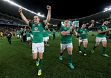Mitsubishi Estate Series 3rd Test, Allianz Stadium, Sydney, Australia 23/6/2018Australia vs IrelandIreland's Johnny Sexton, Tadhg Furlong, Cian Healy and Robbie Henshaw celebrate after the gameMandatory Credit ©INPHO/Dan Sheridan