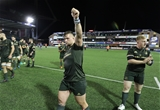 Andrew Porter, who made a big impact off the bench, salutes the travelling Leinster support following the hard-fought victory Credit: ©INPHO/Billy Stickland