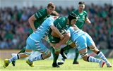 Second row Ultan Dillane, pictured crashing into Glasgow's Scott Cummings and Callum Gibbins, was one of Connacht's most effective carriers throughout the game Credit: ©INPHO/James Crombie