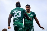 Niyi Adeolokun celebrates his try with Connacht captain Jarrad Butler as the province extend their advantage to 26 points (32-6) Credit: ©INPHO/Tommy Dickson