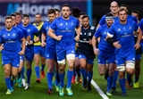 Jack Conan and captain Rhys Ruddock lead the Leinster side on a jog around the pitch during the warm-up Credit: ©SPORTSFILE/Stephen McCarthy