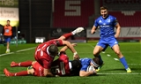 The Scarlets cover could not keep out Fergus McFadden after he had been released by Rory O'Loughlin's long pass out to the right wing Credit: ©SPORTSFILE/Stephen McCarthy