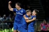 Jordan Larmour is congratulated by half-backs Jonathan Sexton and Luke McGrath after scoring Leinster's third try in the 49th minute Credit: ©INPHO/Dan Sheridan