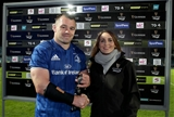 Cian Healy's powerful performance in the Leinster number 1 jersey saw him receive the PRO14 man-of-the-match medal from Diageo's Jennifer Gleeson Credit: ©INPHO/Dan Sheridan