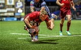 Andrew Conway dives towards the try-line for the second of his two quick-fire scores during the opening quarter Credit: ©INPHO/Billy Stickland