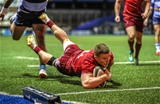 A Joey Carbery-inspired counter attack got Munster on the move, and after the ball was retained by Tadhg Beirne, Carbery freed up Andrew Conway to go over in the right corner Credit: ©INPHO/Billy Stickland