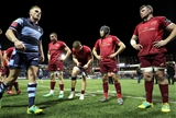 Munster's Tommy O'Donnell, Andrew Conway, Duncan Williams and Peter O'Mahony line up as the victorious Cardiff side make their way off the pitch Credit: ©INPHO/Billy Stickland