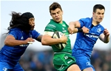 Guinness PRO14, The Sportsground, Galway 29/9/2018Connacht vs LeinsterLeinster's Joe Tomane and Johnny Sexton with Tom Farrell of ConnachtMandatory Credit ©INPHO/James Crombie
