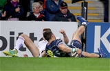 Guinness PRO14, Kingspan Stadium, Belfast 5/10/2018Ulster vs ConnachtConnacht's Tiernan O'Halloran scores their first try despite Jacob Stockdale of UlsterMandatory Credit ©INPHO/Dan Sheridan