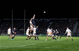 Heineken Champions Cup Round 1, RDS, Dublin 12/10/2018Leinster vs WaspsLeinster's Devin Toner and Brad Shields of Wasps in the line-outMandatory Credit @INPHO/Dan Sheridan