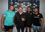 Heineken Champions Cup Round 1, Sandy Park Stadium, Exeter, England 13/10/2018Exeter Chiefs vs MunsterMunster's Peter O'Mahony, Referee Jerome Garces and Gareth Steenson of Exeter Chiefs with Heineken prize winner Mike FalvinMandatory Credit ©INPHO/Dan Sheridan