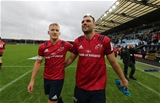 Heineken Champions Cup Round 1, Sandy Park Stadium, Exeter, England 13/10/2018Exeter Chiefs vs MunsterMunster's Mike Haley and Tadhg Beirne celebrate after the matchMandatory Credit ©INPHO/Billy Stickland