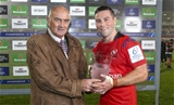 Saturday 13th October 2018 | Ulster vs LeicesterJohn Cooney receives the Heineken Man Of The Match award from Pat Maher after the first round clash in the Heineken Champions Cup between Ulster Rugby and Leicester Tigers at Kingspan Stadium, Ravenhill Park, Belfast, Northern Ireland. Photo by John Dickson / DICKSONDIGITAL