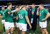 Guinness Series, Solider Field, Chicago, USA 3/11/2018Ireland vs ItalyIreland's Andrew Porter and Bundee Aki congratulate Jordan Larmour after the game with Jacob Stockdale and Andrew ConwayMandatory Credit ©INPHO/Dan Sheridan