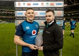 Guinness Series, Aviva Stadium, Dublin 24/11/2018Ireland vs USAGuinness Man of the Match presented to Ireland's Andrew Conway by Paddy CarberryMandatory Credit ©INPHO/Morgan Treacy