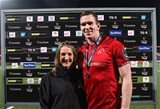 Guinness PRO14, Irish Independent Park, Cork 30/11/2018 Munster vs EdinburghMunster's Chris Farrell is presented with the Guinness Pro14 Man of the Match award by Una McCarthy of GuinnessMandatory Credit ©INPHO/Tommy Dickson