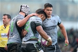 European Rugby Challenge Cup Round 3, Sportsground, Galway 8/12/2018Connacht vs Perpignan Connachts Bundee Aki scores a try and is congratulated by James Connolly and David HeffernanMandatory Credit ©INPHO/Dan Sheridan
