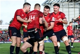 Heineken Champions Cup Round 3. Thomond Park, Limerick 9/12/2018Munster vs CastresMunsters Rory Scannell celebrates scoring his sides first try with JJ Hanrahan, Andrew Conway, Niall Scannell and Billy HollandMandatory Credit ©INPHO/Billy Stickland
