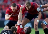 Heineken Champions Cup Round 3. Thomond Park, Limerick 9/12/2018Munster vs CastresMunsters JJ Hanrahan celebrates scoring a try with Andrew Conway and Mike HaleyMandatory Credit ©INPHO/Dan Sheridan
